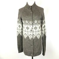 Garnet Hill Taupe Grey Button-Front Cardigan Snowflake Fair Isle Size Small