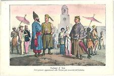 1858 COSTUMI INDOSTAN litografia Hindustan costumes हिन्दुस्तान India