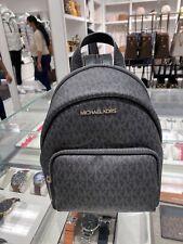 Michael Kors Erin Small Leather Convertible Black Signature MK Bag Backpack