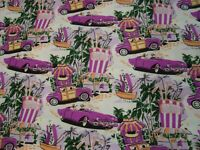 "One yd Classy Suit Jacket Lining Fabric Printed Retro Vacation Poly 60""w BTY"