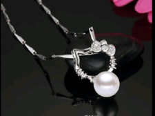 Hello Kitty Fresh water Pearl 925 silver plated pendant