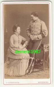CDV Photo Hussar Armband With Woman Victorian Fashion Merseburg 1880er! (F2514