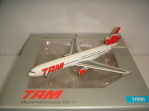 """Herpa Wings 500 TAM Brazil MD-11 """"2000s color """" 1:500 NG CLUB MODEL 2009"""