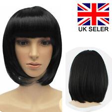 Womens Ladies Black Short Bob Wig Fancy Dress Cosplay Wigs POP Party Costume UK