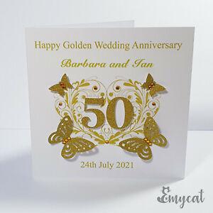 Personalised Handmade Golden 50th Wedding Anniversary Card **Free UK P&P**