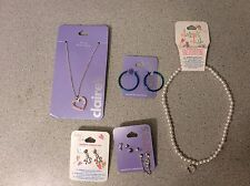 Mixed Lot New Claire's Jewelry Necklaces Earrings Flower Heart Key Blue Hoops