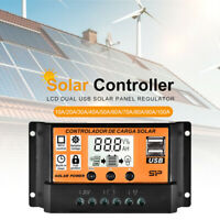 10/30A/50A LCD Solar Panel Battery Regulator Charge Controller Dual USB 12/24V