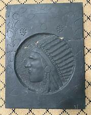 Popeye Reed Stone Art - Classic American Folk Art - Native American Chief Head