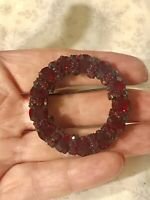 Vtg Warner Red Rhinestone Circle Wreath Pin