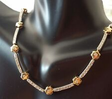 """Made In Italy 14k 2-tone Gold Floral & Diamond Halo Design Tennis Necklace 16.5"""""""