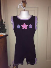 Girls Sz 6/7 6 - 7 Black Gymnastic Dance Unitard w Flower Appliques