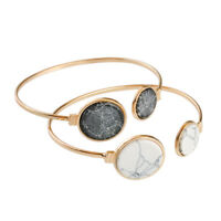 Trendy Marble Texture Gold Plated Charm Bracelet Bangle Gift For Women Jewelry