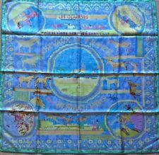 """Authentic Hermes Silk Scarf Chevaux de France 35"""" 90cm Blue Green Contrast Hem"""
