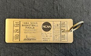 Vintage 1984 NCAA Basketball Finals Brass Keychain Souvenir Key Fob Ticket Rare