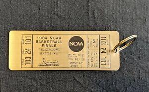 Vintage 1984 NCAA Basketball Finals Brass Keychain Souvenir Key Fob Ticket Rare