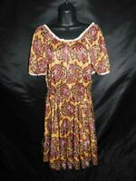 Vintage 70s Square Dance Dress Co M Brown Red Paisley Dancing Dress Rockabilly
