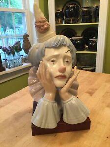 Vintage Lladro #5129 Clown's Head With Pedestal