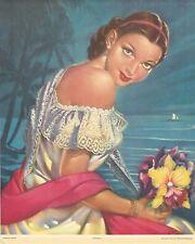 """RARE OLD ORIGINAL 1920'S SENORITA PINUP """"JAROCHA"""" MEXICAN CALENDAR LITHOGRAPH"""