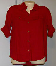 Ralph Lauren Blouse Button Front Size Small Petite NWT Long/Short Sleeve Red