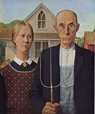 "GRANT WOOD, American Gothic, antique, ART PRINT, 20""x16"" CANVAS, Quality"