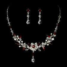 Clear Crystal Rhinestones and Red Stone floral vine Wedding Bridal Jewelry Set