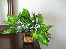 3 Bushes~Artificial Dieffenbachia Leaves Silk Greenery Plant Home Interior Decor