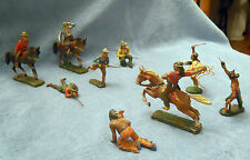 ELASTOLN, GERMAN TOY FIGURES, COWBOYS & INDIANS IN BATTLE,11 MEN, 3 HORSES