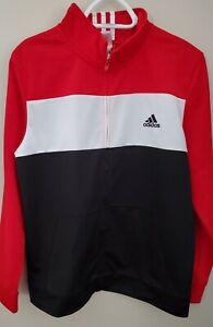Adidas Boys XL 18/20 1/4 Zip Pullover Warmup Top Classic Red, White & Black