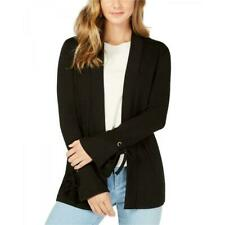 Charter Club Womens Black Open Long Cardigan Sweater Size Large Tie Sleeve NWT