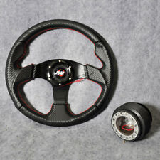 Fit For Nissan Steering Wheel 320MM PVC Carbon Red Stitch 6 Bolt+ Hub Adapter