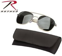 4b685f6e4cf Gold   Smoke Aviator Pilot Sunglasses Air Force Style w Case 58 MM Rothco  10804
