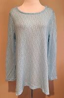 Women's Blue Long Sleeve Chelsea & Theodore Textured Top Sweater Large