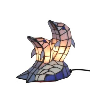 Tiffany Style Stained Glass Dolphin Table Lamp Night Accent Lighting Gifts Decor