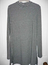 Miss Selfridge Black & White checked Tunic Top Size 8