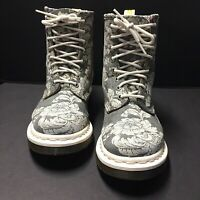 Dr. Martens Womens White Floral Boots With Victorian Botanical Flowers Size 6 Us