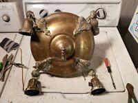 Antique Victorian 4 Light Brass Pan Fixture Chandelier