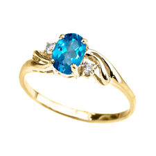 Solid 10k 14k Yellow Gold Cz Blue Topaz Oval Solitaire Proposal Ring
