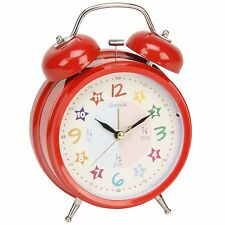 Hometime Kids Double Bell Quartz Red Alarm Clock Teach The Time
