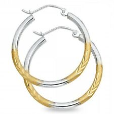 14k Yellow & White Gold Round Hoops Diamond Cut Earrings Satin Polished Fancy