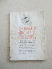 Original 1930s Chrysler Airflow automatic overdrive advertising booklet