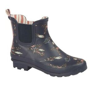 Ladies Short Ankle Wellies Boots Navy Mauve Black Butterfly Dog Walking Size 3-9