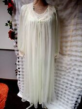 VTG Ivory Peignoir Set Rose Sheer Robe Gown Negligee Lingerie Lace M L EUC