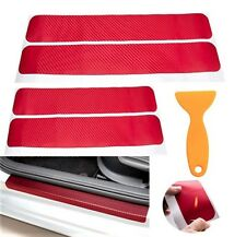 4x 1Set 3D Carbon Fiber Vinyl Decal Car Door Sill Red Protect Stickers AHM J