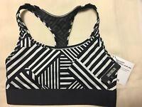 VS Victoria's Secret Player Sports Bra Black White Geometric Medium BRAND NEW