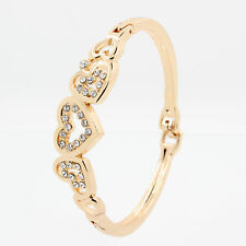 Crystal Cuff Bangle Love Heart Charm Bracelet 2018 New 1P Women Lady Gold Plated