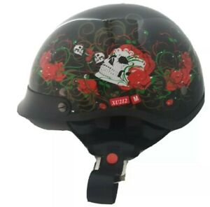 LADIES MOTORCYCLE HELMET RED ROSES & SKULL DOT APPROVED Sz Med XU212