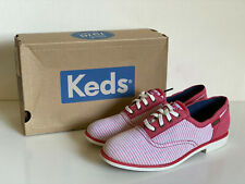 NEW! KEDS BOYFRIEND CHAMBRAY RED STRIPES OXFORDS SHOES 6 / 36 SALE