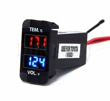 2in1 LED Digital Voltmeter Voltage Temperature Meter Thermometer For Toyota FV