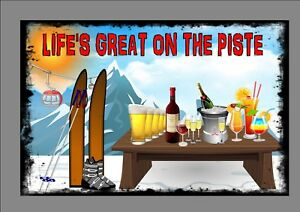 Skiing Metal Sign Fun Wall Hanging Plaque On The Piste Sign Novelty Wall Sign