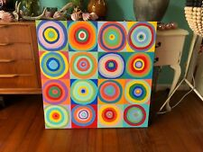 Original ABSTRACT CIRCLES~ ACRYLIC PAINTING~signed by artist~RETRO~LARGE~modern